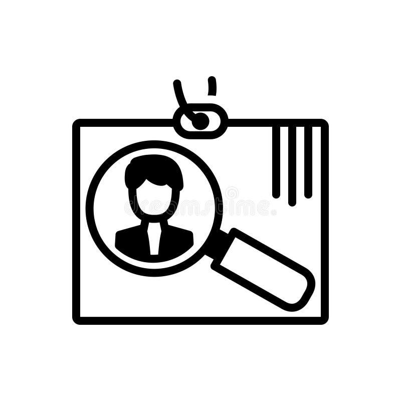 Icona solida nera per assunzione, arruolamento e l'essere umano illustrazione vettoriale