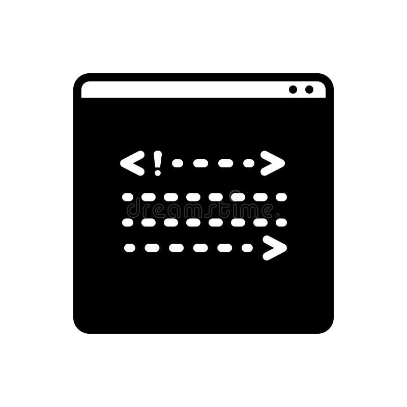 Icona solida nera per Coading, l'estremità posteriore e lo sviluppo illustrazione vettoriale