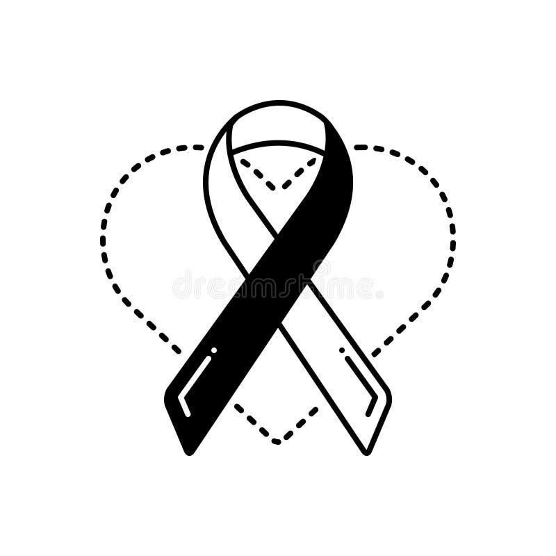Icona solida nera per consapevolezza, la prevenzione e medico di salute illustrazione vettoriale