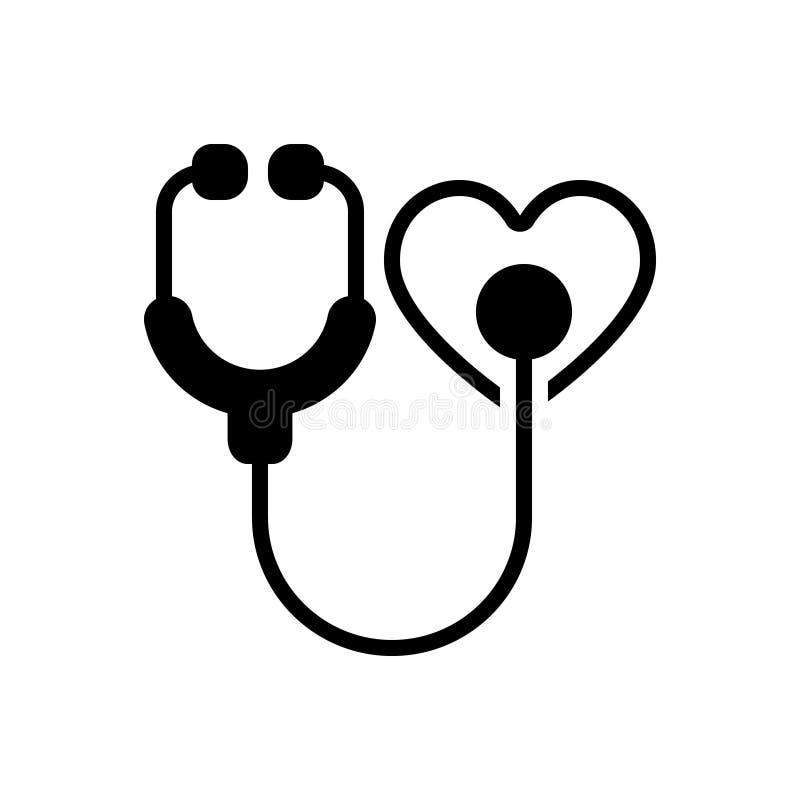 Icona solida nera per cura, il catholicity e la consapevolezza del cuore illustrazione vettoriale