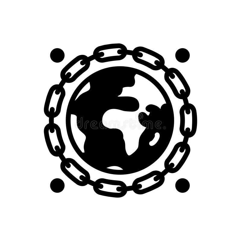 Icona solida nera per Earthlink, l'individuo ed il mento illustrazione di stock
