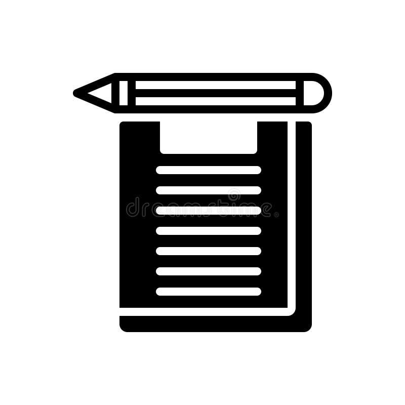 Icona solida nera per esame, esame e la prova illustrazione di stock