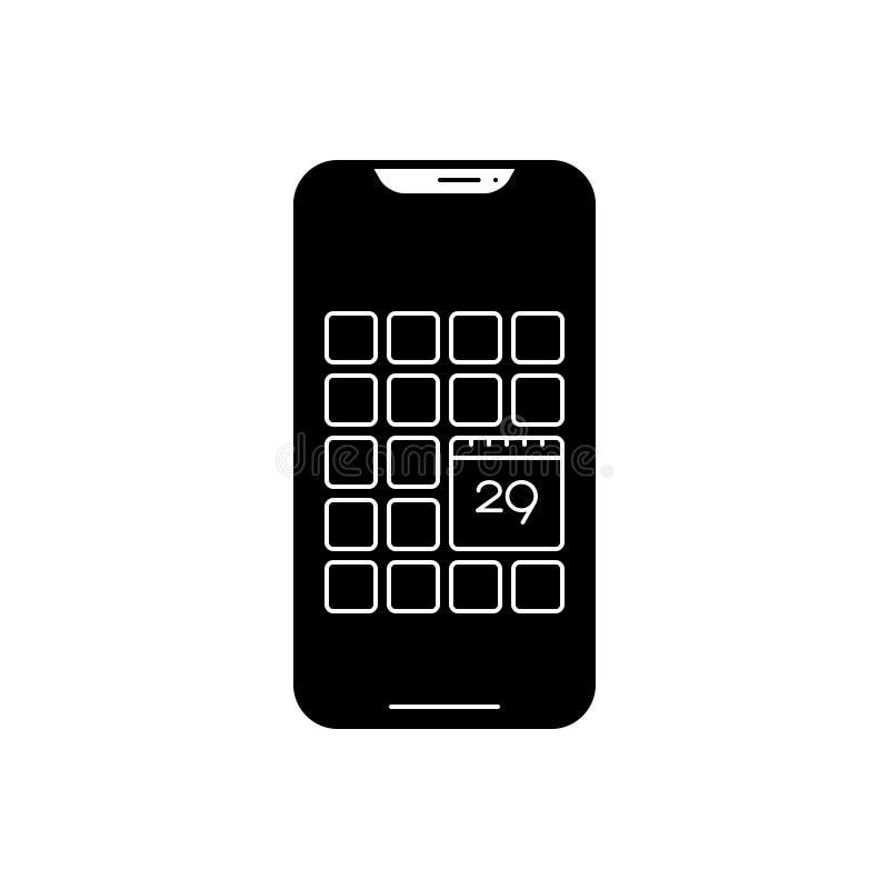 Icona solida nera per il app, lo smartphone e l'applicazione del calendario illustrazione di stock