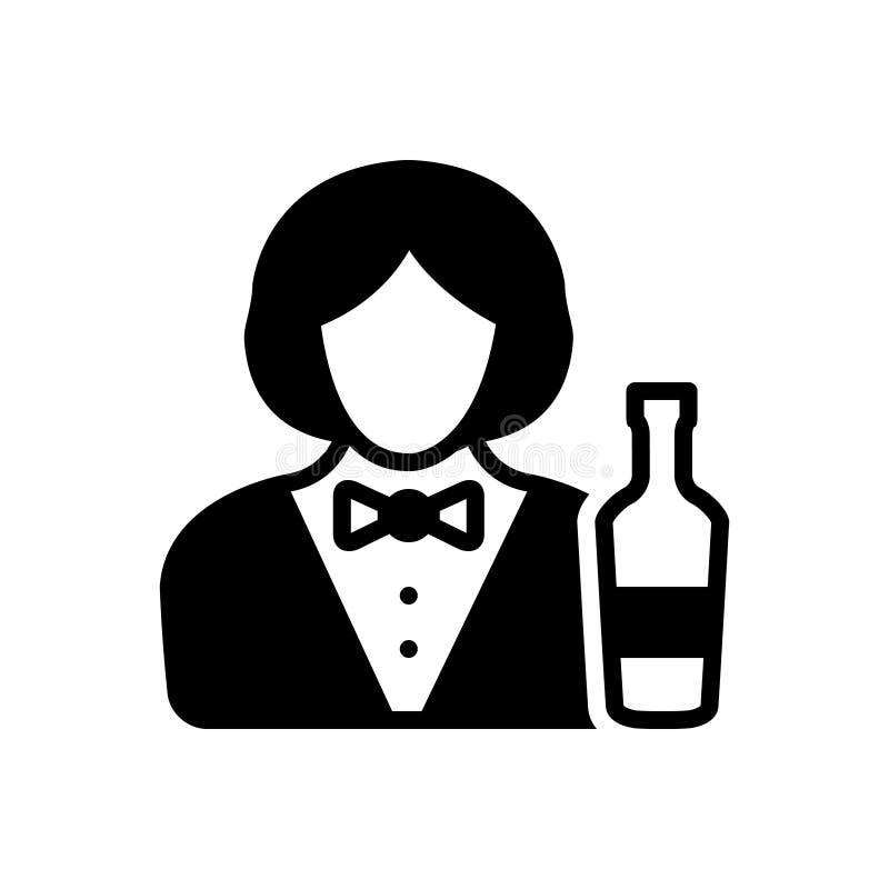 Icona solida nera per il barista, la femmina ed il servizio illustrazione di stock