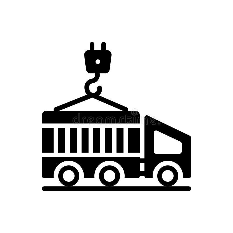 Icona solida nera per il contenitore, il carico ed il trasporto illustrazione vettoriale