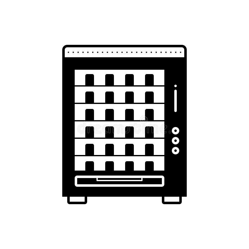 Icona solida nera per il distributore automatico, le mercanzie ed il commercio illustrazione di stock