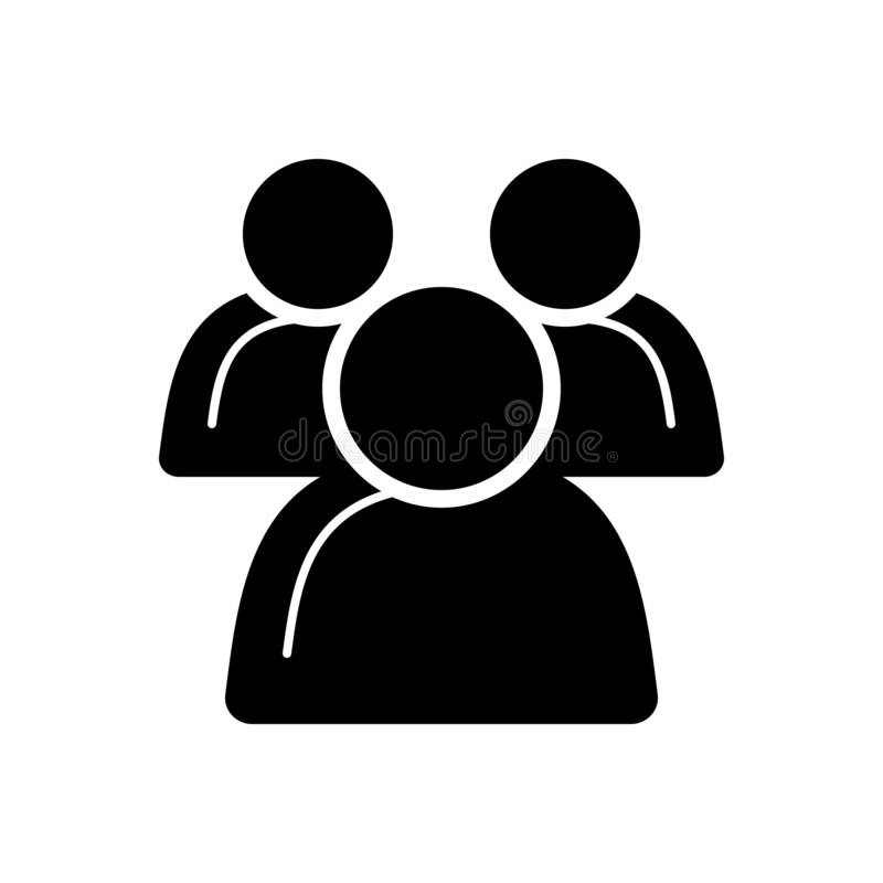 Icona solida nera per il gruppo, la gente e la comunità illustrazione vettoriale