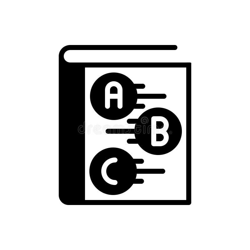 Icona solida nera per il manuale, la guida ed il cicerone fotografie stock