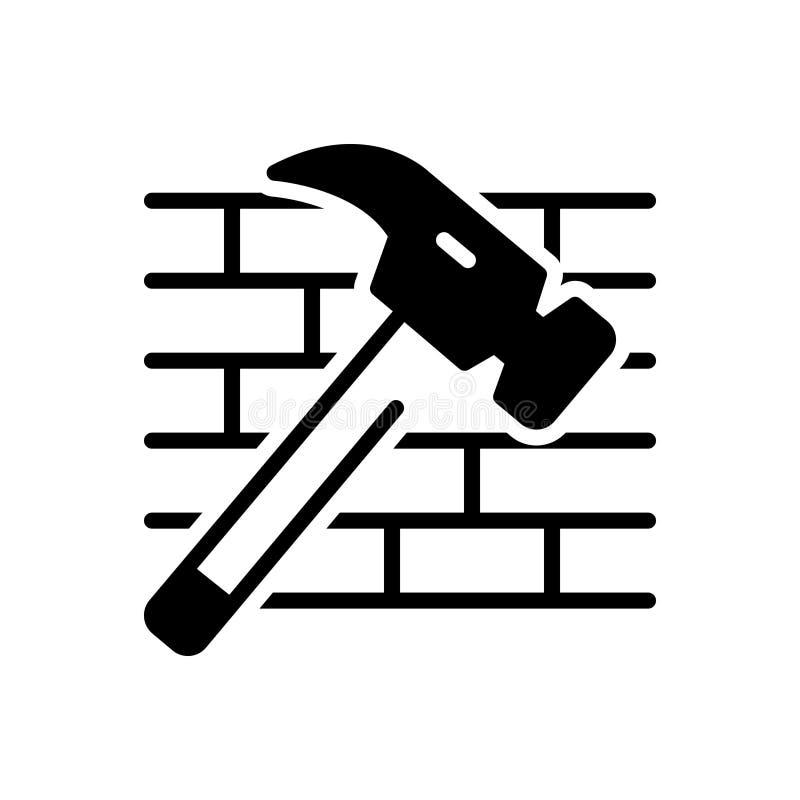 Icona solida nera per il martello ed i mattoni, rotta e distrutta royalty illustrazione gratis
