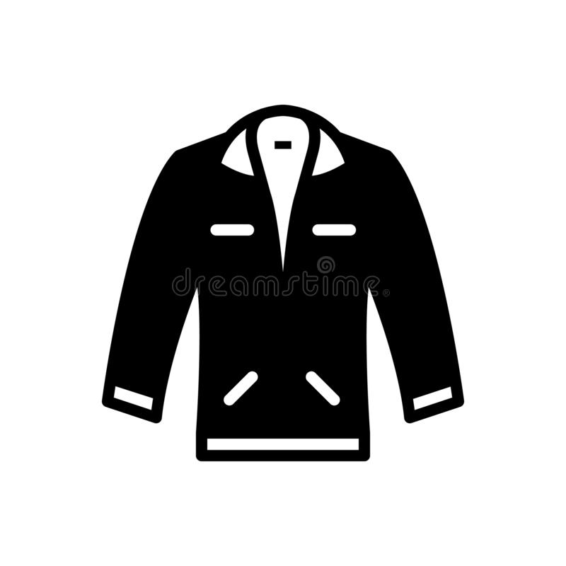 Icona solida nera per il rivestimento, il rivestimento ed alla moda illustrazione vettoriale