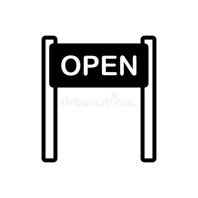 Icona solida nera per il segno, l'insegna e l'attaccatura aperti illustrazione di stock