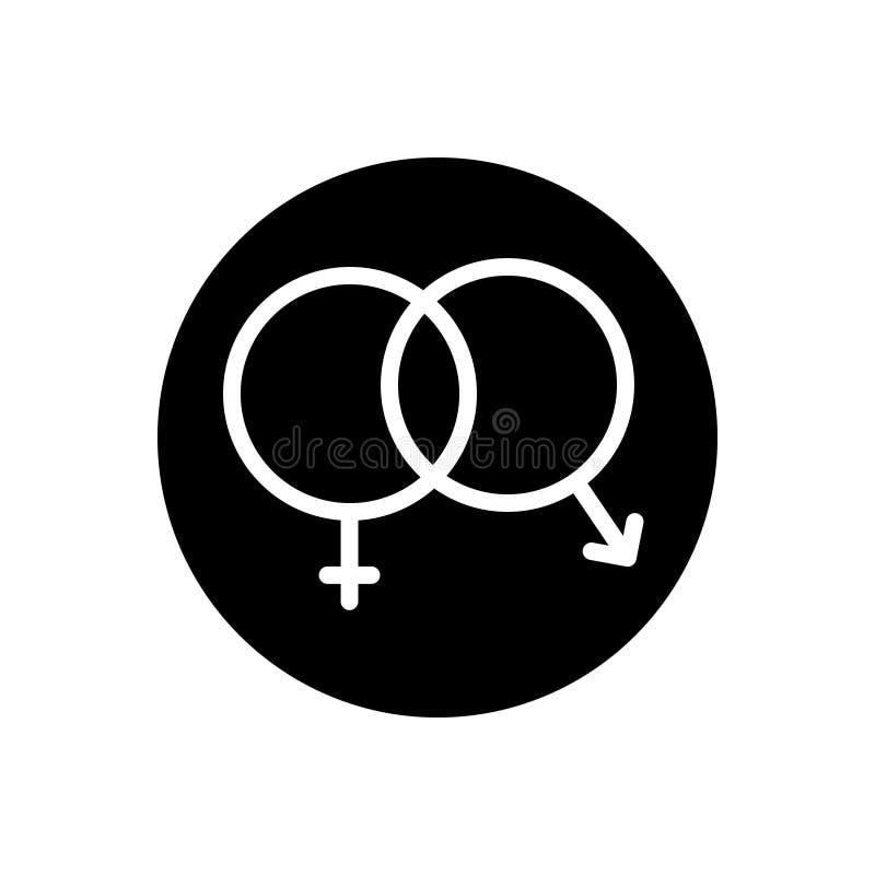 Icona solida nera per il sesso, unisex ed eterosessuale royalty illustrazione gratis