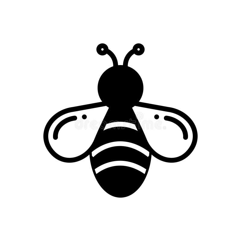 Icona solida nera per l'ape, il miele e la mosca illustrazione vettoriale