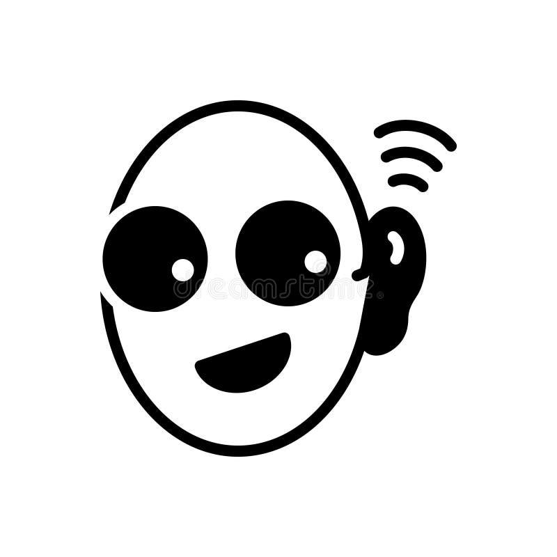 Icona solida nera per l'orecchio indiscreto, la spia ed ascoltare illustrazione vettoriale