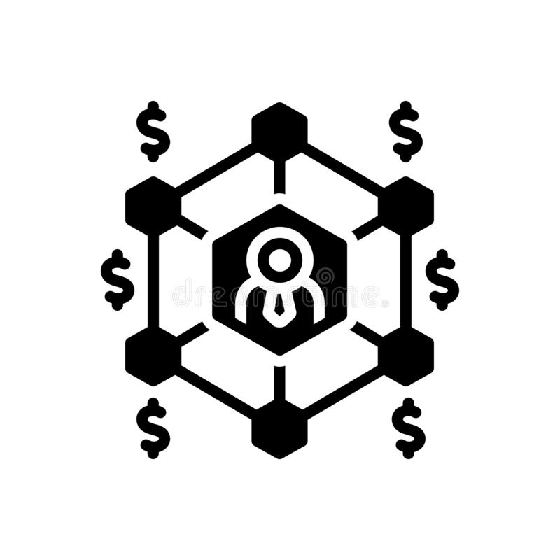 Icona solida nera per la rete, la griglia e la comunicazione di affari illustrazione di stock