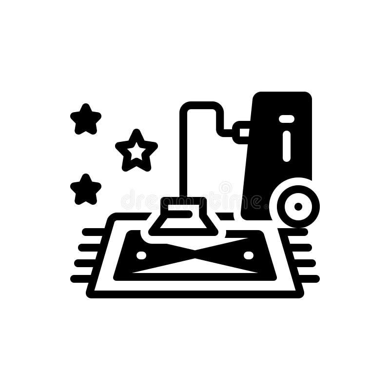 Icona solida nera per la stazione termale, il materasso ed il pulitore del tappeto illustrazione vettoriale