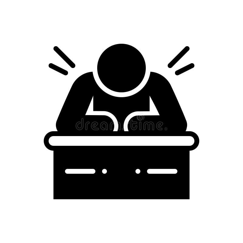 Icona solida nera per lento, pigro e prolungato illustrazione di stock