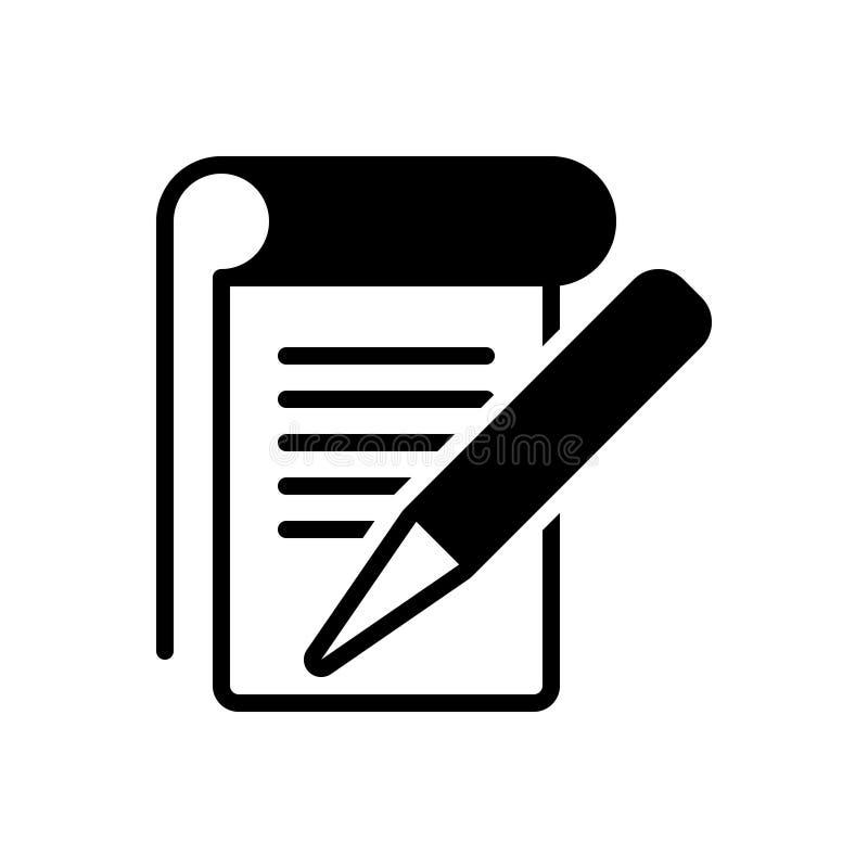 Icona solida nera per lo studente Notes, l'editoriale e le note illustrazione di stock