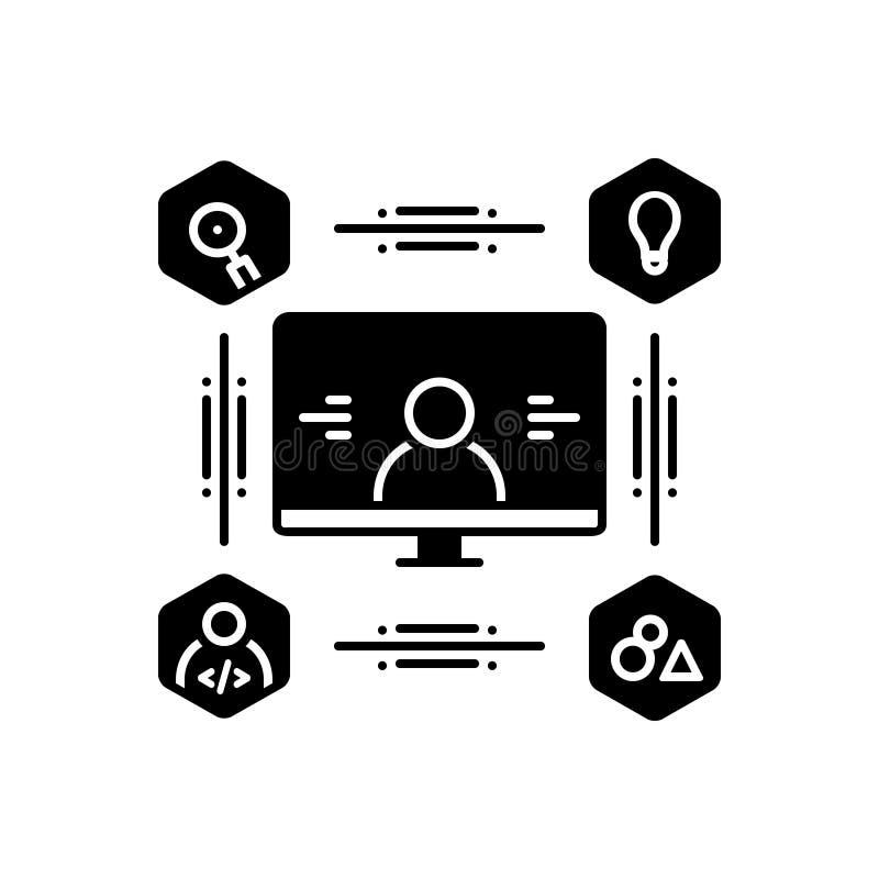Icona solida nera per progettazione concentrata utente, la gente ed il rappresentante illustrazione di stock