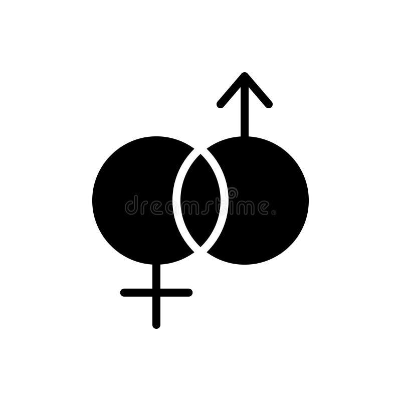Icona solida nera per unisex, il genere e l'eterosessuale illustrazione di stock