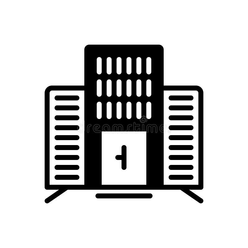 Icona solida per l'edificio per uffici, corporativo neri e l'architettura royalty illustrazione gratis