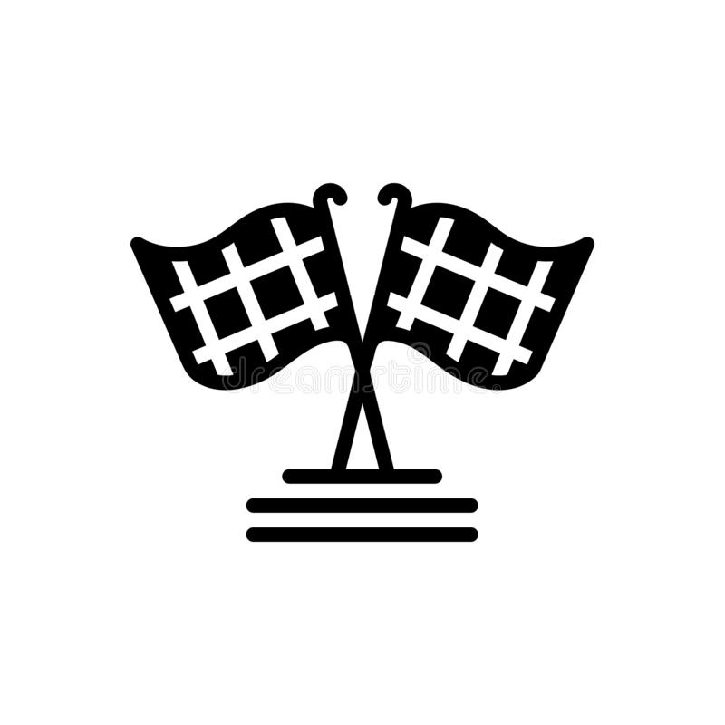 Icona solida per la bandiera della corsa, a quadretti neri ed il rivestimento illustrazione vettoriale