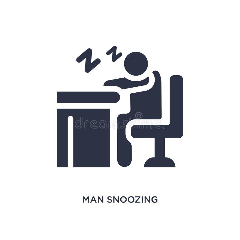 icona sonnecchiare dell'uomo su fondo bianco Illustrazione semplice dell'elemento dal concetto di comportamento illustrazione di stock
