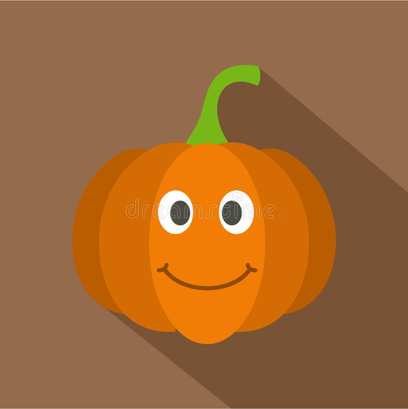 Icona sorridente arancio della zucca, stile piano illustrazione di stock