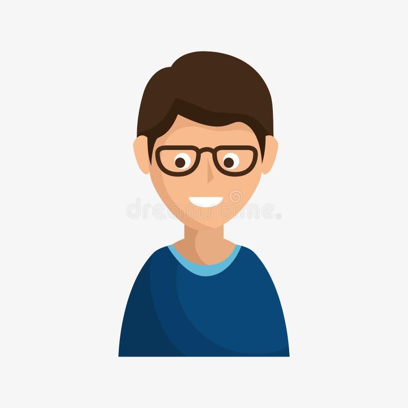 Icona sorridente castana dell'uomo illustrazione vettoriale