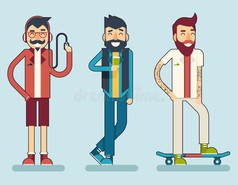Icona sorridente felice del carattere dei pantaloni a vita bassa del geek dell'uomo illustrazione di stock
