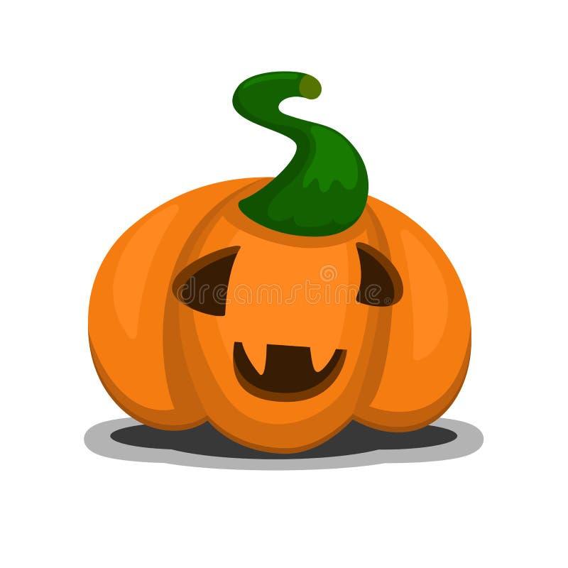 Icona sorridente felice della zucca di Halloween nel fumetto e stile piano per progettazione festiva con ombra illustrazione di stock