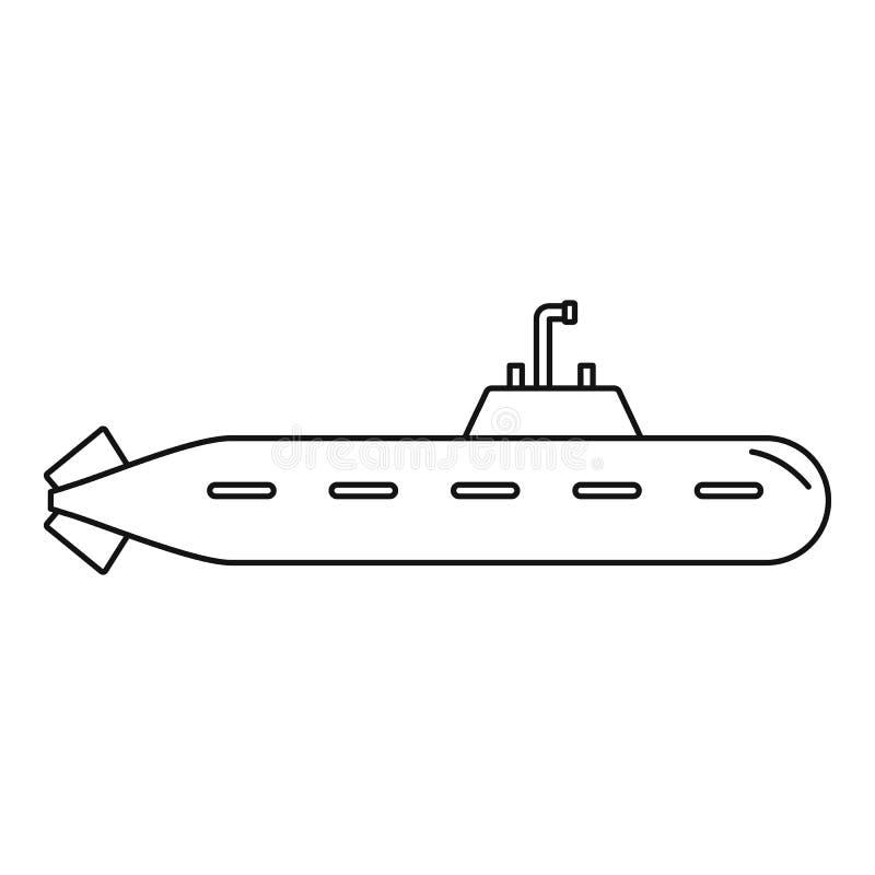 Icona sottomarina militare, stile del profilo illustrazione di stock