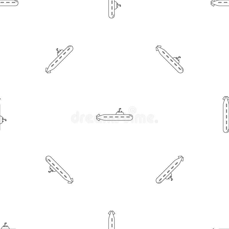Icona sottomarina militare, stile del profilo illustrazione vettoriale