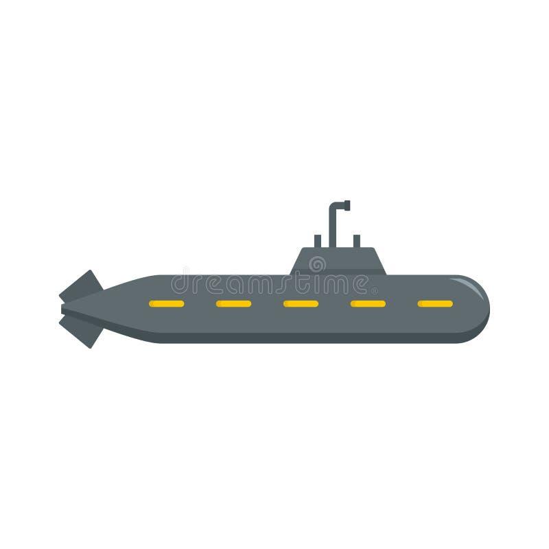 Icona sottomarina militare, stile piano royalty illustrazione gratis