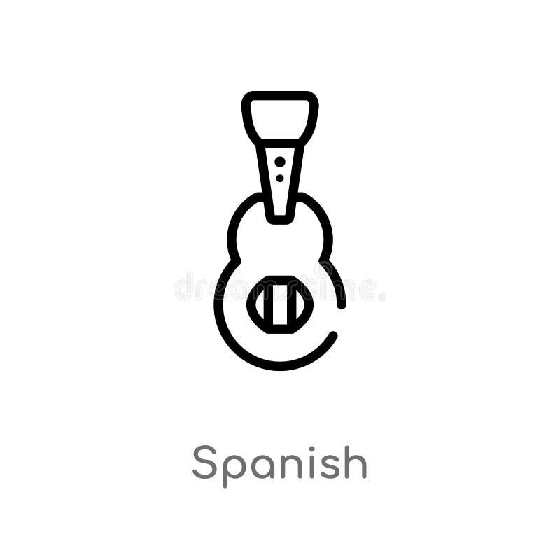 icona spagnola di vettore del profilo linea semplice nera isolata illustrazione dell'elemento dal concetto di musica Spagnolo edi illustrazione di stock