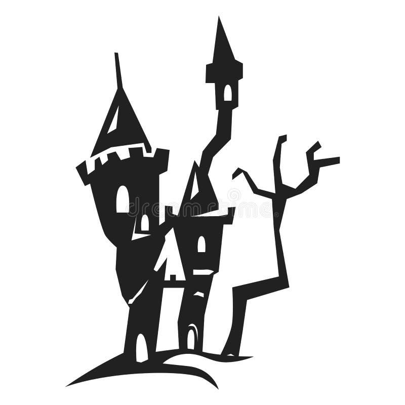 Icona spaventosa del castello, stile semplice royalty illustrazione gratis