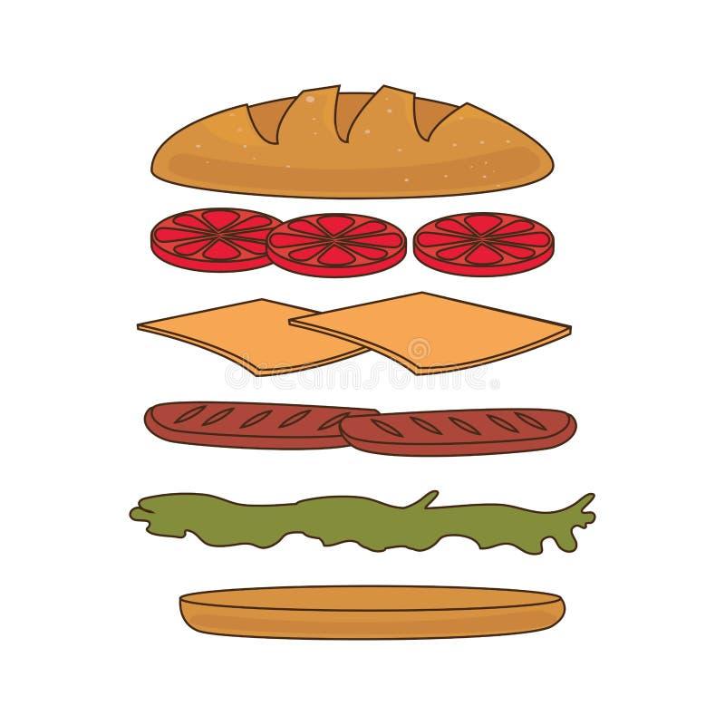 Icona stabilita degli ingredienti del panino illustrazione vettoriale