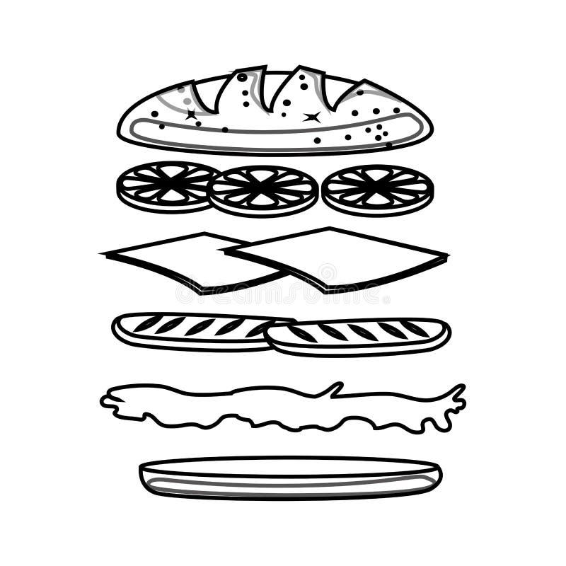 Icona stabilita degli ingredienti del panino illustrazione di stock