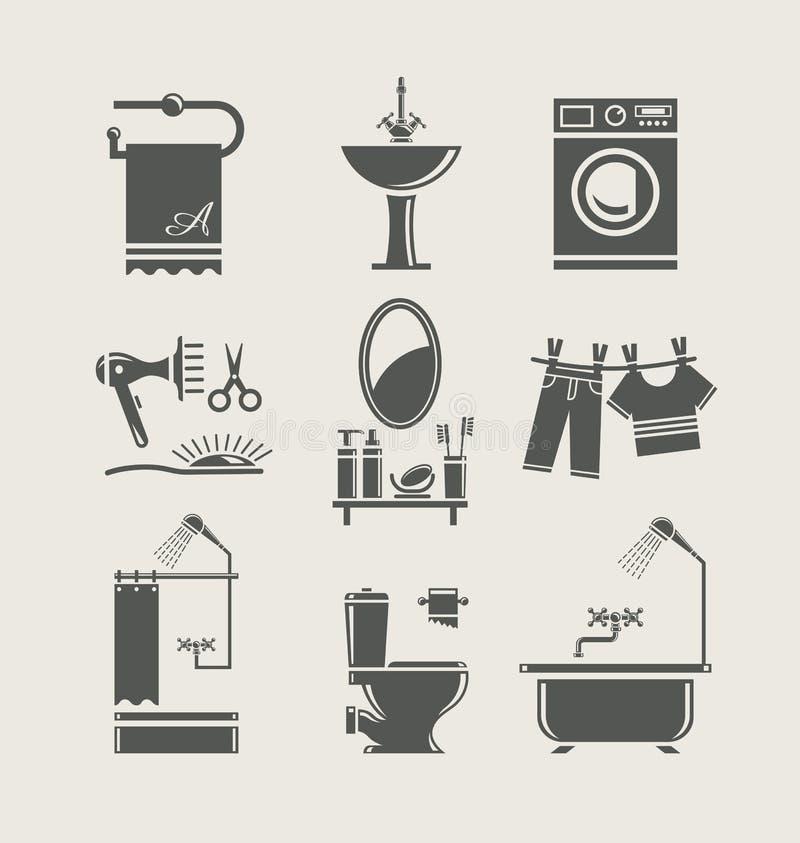 Icona stabilita della strumentazione della stanza da bagno illustrazione di stock