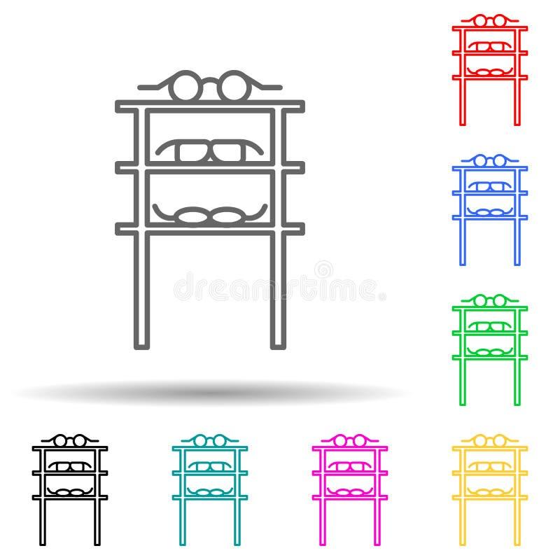 icona stile multicolore del reparto vendite occhiali linea sottile semplice, vettore di struttura delle icone dei centri commerci illustrazione vettoriale