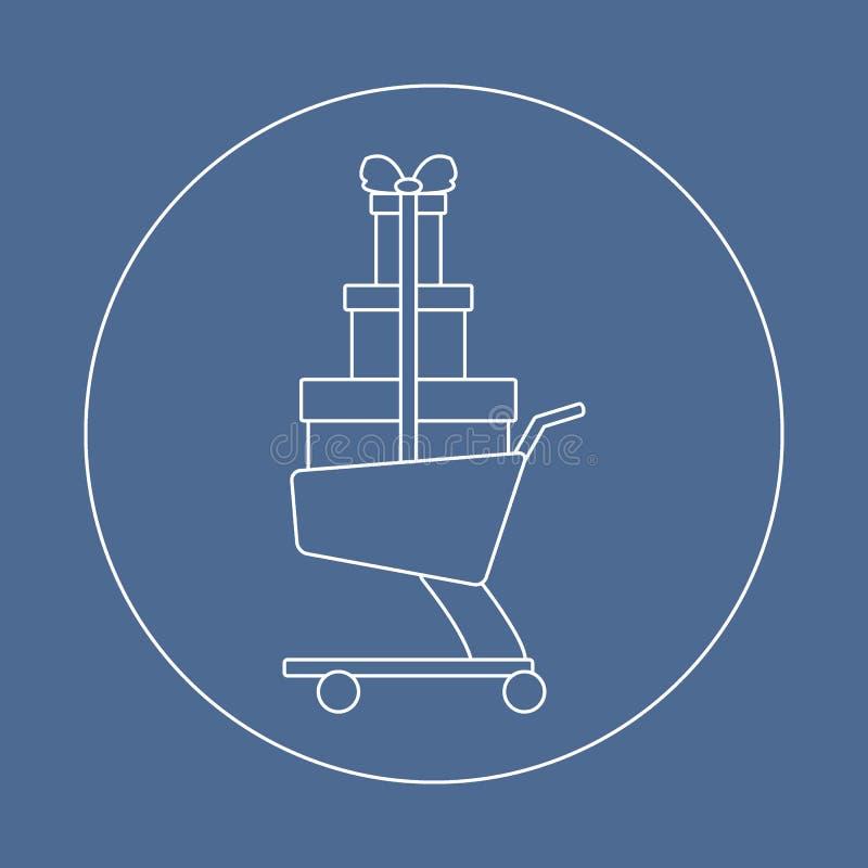 Icona stilizzata del carrello con i regali illustrazione di stock