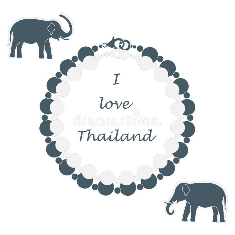 Icona stilizzata della collana e degli elefanti della perla Collectio orientale illustrazione di stock