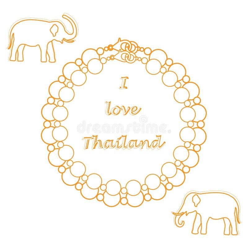 Icona stilizzata della collana e degli elefanti della perla Collectio orientale illustrazione vettoriale