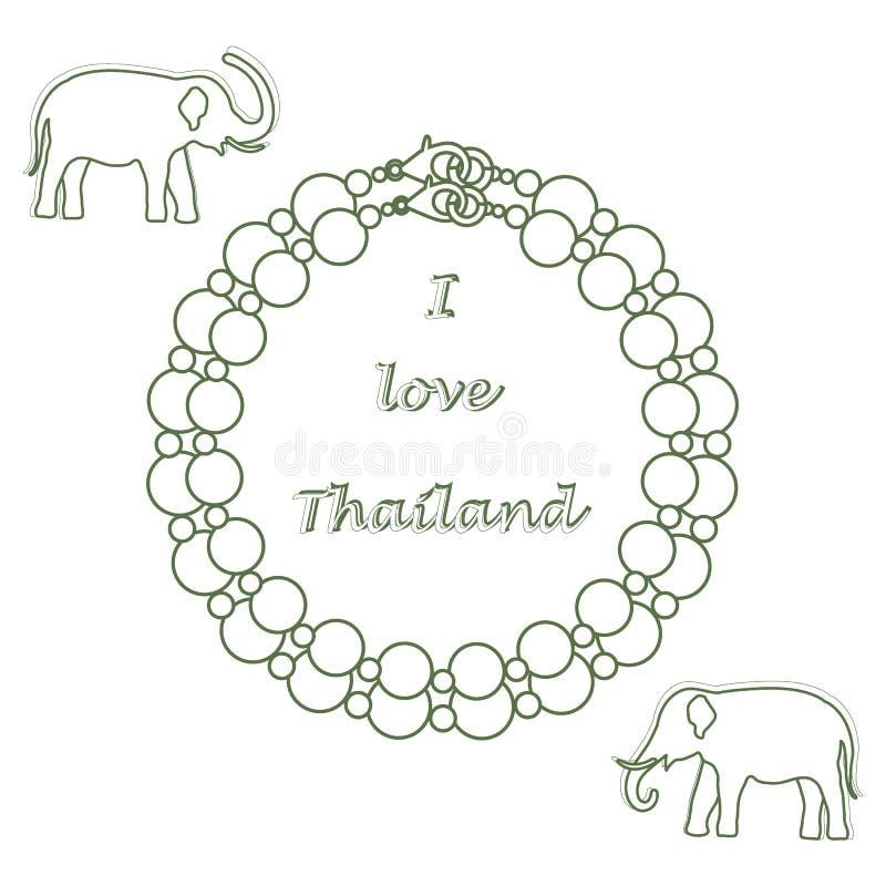 Icona stilizzata della collana e degli elefanti della perla Collectio orientale royalty illustrazione gratis
