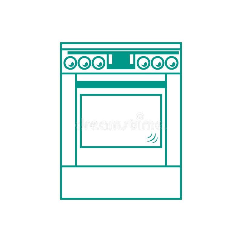 Icona stilizzata di un fornello colorato illustrazione di stock