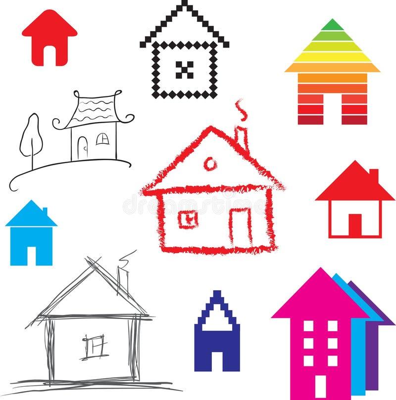 Icona stilizzata semplice delle case illustrazione for Semplice disegno del piano casa