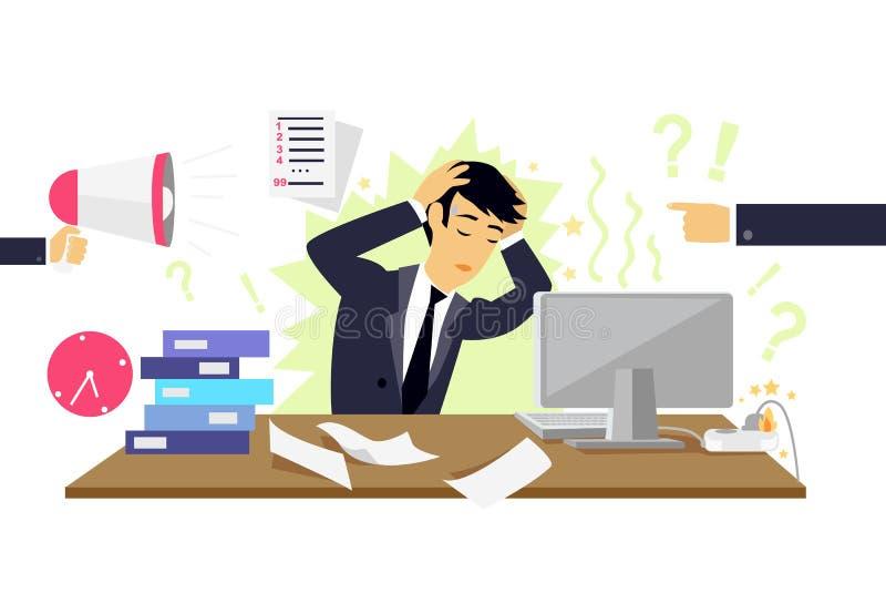 Icona stressante di circostanza piana illustrazione di stock