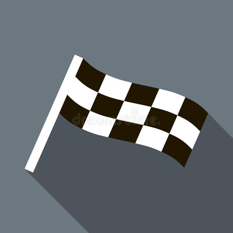 Icona striata del motore della bandiera nello stile piano illustrazione di stock