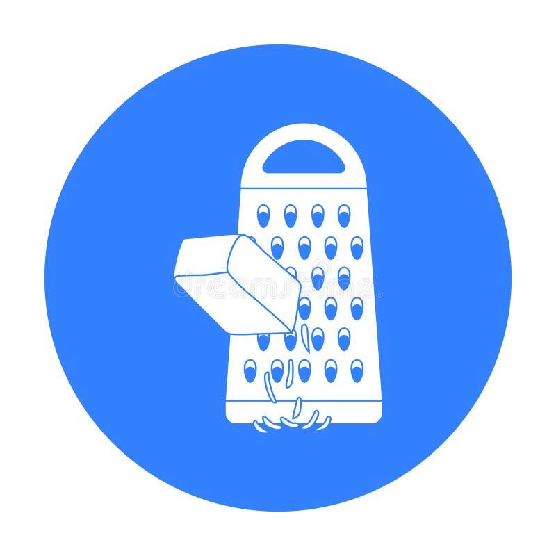 Icona stridente del formaggio nello stile nero isolata su fondo bianco Illustrazione di vettore delle azione di simbolo della piz illustrazione di stock