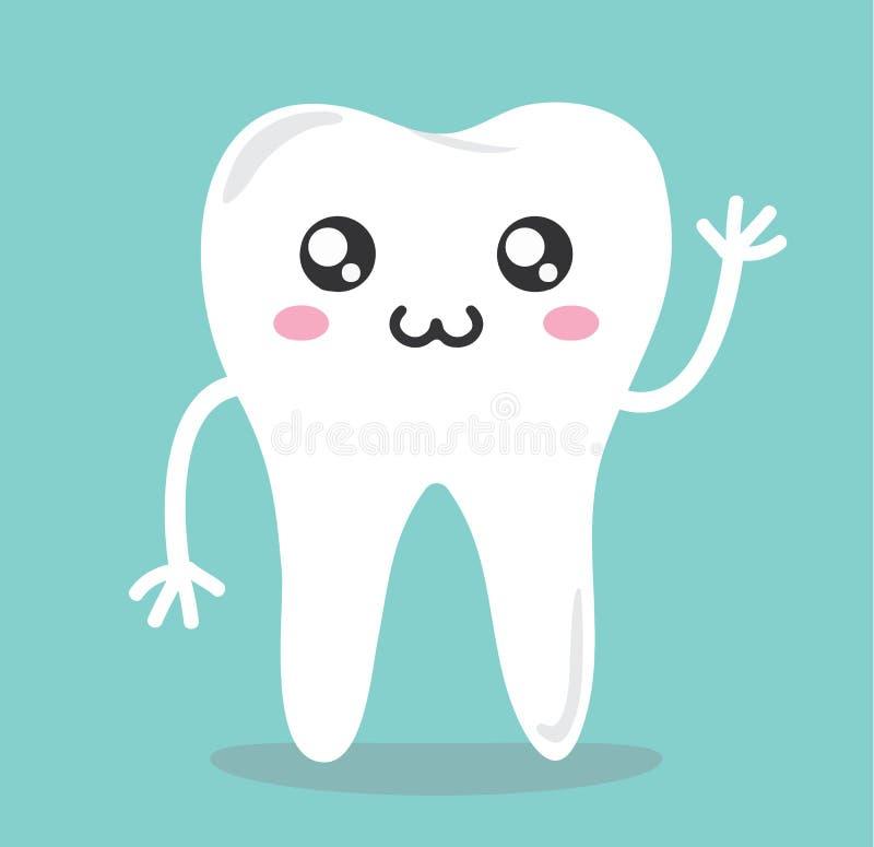 Icona sveglia del fumetto di Kawaii dei denti illustrazione di stock